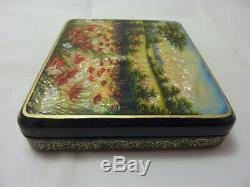 Russian Lacquer box. Poppy field. Hand Painted
