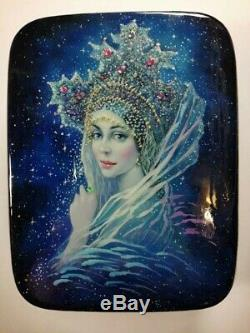 Russian Lacquer box style Fedoskino. Hand Painted