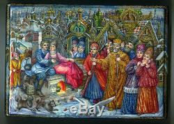 Russian Lacquer large box Fedoskino Fairy tale. By magic. Hand Painted