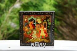 Russian Palekh Black Lacquer Box Hand Painted by Gurilev 1975 USSR 5+3/4 Square