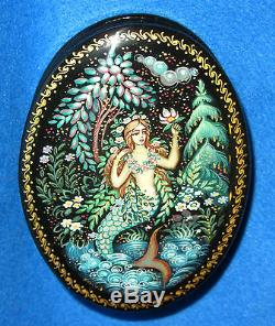 Russian hand painted small KHOLUI LACQUER Box MERMAID ORLOVA signed Unique GIFT