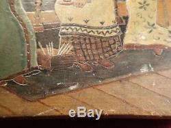 SCARCE 19 cent ANTIQUE HANDPAINTED CARVED RUSSIA RUSSIAN WOOD LETTER TRINKET BOX
