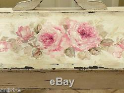 SHABBY antique sewing table box chic hp roses hand painted OOAK oiginal signed