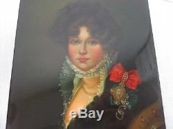 SIGNED RUSSIAN FEDOSKINO HAND PAINTED LARGE 6 LACQUER BOX w LADY PORTRAIT
