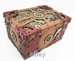STEAMPUNK ANTIQUE VINTAGE CLOCKWORK GEAR JEWELRY BOX RESIN HANDPAINTED