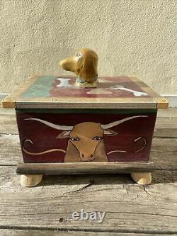 Sarah Grant Sticks Furniture Hand Painted Carved Wood Box Dog Treats NYC Texas