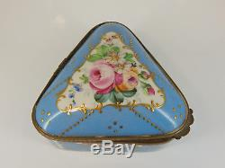 Sevres France Hinged Box, Triangle Shape -Hand Painted Floral Hallmarked 18th C