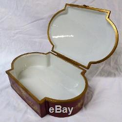 Sevres French Porcelain Dresser Box Hand Painted Antique Signed Brass Hinged