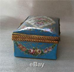 Sevres Porcelain Box Gilded Bronze Ormolu Hand Painted Flowers 1850's