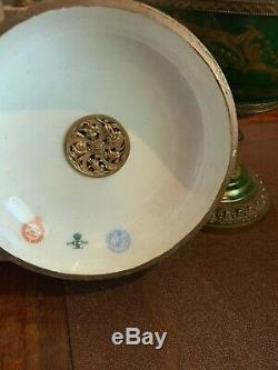 Sevres style 19th century box green porcelain handpainted antique bonbonniere