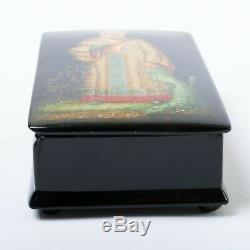 Signed Russian Lacquer Box Fedoskino Hand Painted Frog Princess Legend 6 x 3