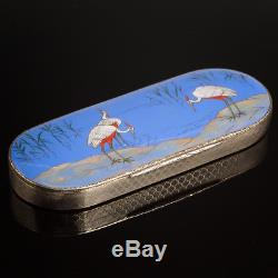 Sterling Silver & Enamel Hand Painted Box Spectacle Case Cranes 1927