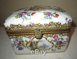 Stunning Antique Choisy le Roi Hand Painted Dresser Box Courting Scene Lot 13