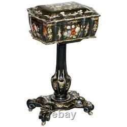 Sublime Victorian Mother Of Pearl & Paper Mache Hand Painted Sewing Work Box
