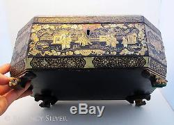 Superb Large 19th-Century ANTIQUE Chinese Export Lacquered Wood Caddy Chest/Box