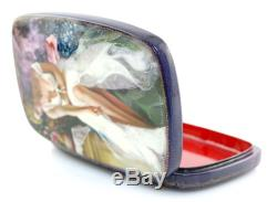 Tatiana Kovgenko Russian Hand-Painted Lacquer Box with Seated Lady in White Dress
