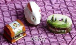 Three (3) France Limoges Decor Main Hand Painted Hinged Porcelain Trinket Boxes