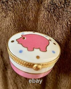 Tiffany & Co Limoges France Pink Pig Gold Gilt Jewelry Box, Signed, Handpainted