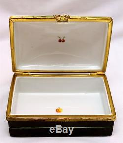 Tiffany & Co. Private Stock Hand Painted Brass & Porcelain Black Dresser Box