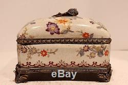 Unique Hand Painted Floral Design Rectangular Box with Brass Accents 8