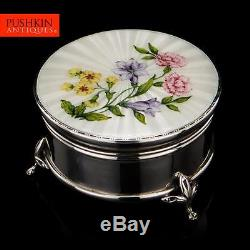 VINTAGE 20thC SOLID SILVER & GUILLOCHE HAND PAINTED ENAMEL JEWELLERY BOX c. 1966
