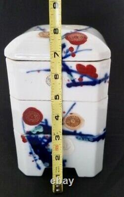 VINTAGE JAPANESE HAND PAINTED CERAMIC STACKING BOX with LID- (3 TIERS With LID)