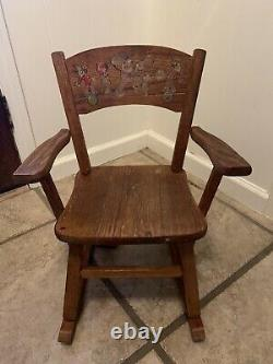 VINTAGE SMALL CHILD'S WOODEN ROCKING CHAIR WITH MUSICAL CHIME BOX Hand Painted