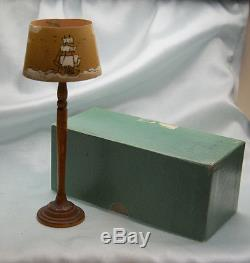 VINTAGE TYNIETOY DOLLHOUSE FLOOR LAMP With HAND PAINTED SHADE WithBOX NO RESERVE