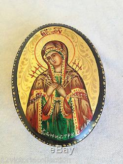 VIRGIN MARY WITH JESUS Hand Painted Russian LACQUER BOX Fedoskino Art Work