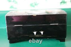 VTG Jewelry Music Box Hand Painted Black Lacquered Inlay Mother of Pearl Japan