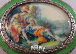 Very Nice Silver & Enamel Box Inset Hand Painted Miniature