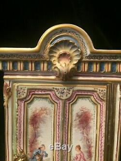 Very Unusual Porcelain Miniature Armoire Hand Painted And Gilded