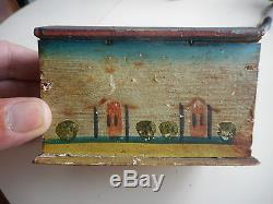 Very early miniature hand Painted WoodenDomed Top Box. Antique Mini Painted Box