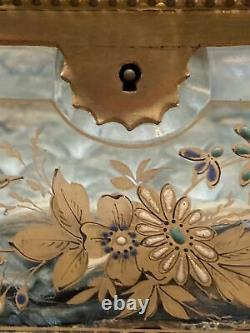 Victorian French Hand Painted Beveled Glass Bronze Trinket Box