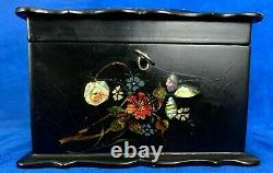 Victorian Paper Mache Tea Caddy with Mother of Pearl Inlaid and Hand Painted