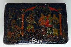 Vintage 1948 Soviet Russian lacquered Palekh hand painted box boite laque russe