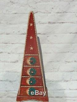 Vintage 3+Ft Tall Hand Painted Wooden Pyramid Cabinet Moon & Sun Motif 4 Drawers