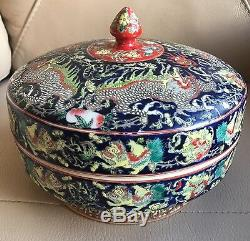 Vintage Chinese Box Moonlight Blue Wash Red Yellow Porcelain Lidded Pot Bowl Dis