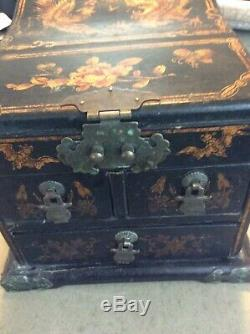 Vintage Chinese Hardwood Jewelry Box/Chest with Mirror Hand Painted