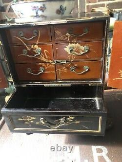 Vintage Chinese collectors jewellery cabinet with drawers ebonised brass detail