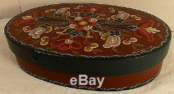 Vintage Hand Painted Rosemaling Tole Wooden Treasure Sewing Jewelry Box Signed
