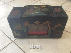 Vintage Japan Black Lacquer Jewelry Toyo Music Box restoration required