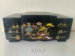 Vintage Japanese Black Lacquer Jewelry Music Box Hand Painted Mt. Fuji Scene