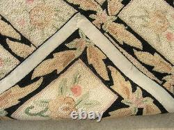 Vintage Japanese Hand Woven Hooked Rug Boxed Floral Wool Yarn 61 x 85 Inches