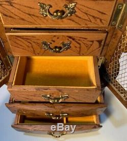 Vintage Large Musical Jewelry Box 5-Drawer Brown & Gold Hand Painted Made Japan