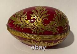Vintage Le Tallec Limoges hand painted hinged egg box gold on relief
