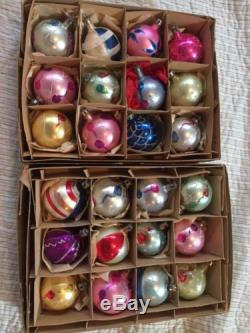 Vintage Mercury Glass Poland Hand Painted Christmas Ornaments Lot Of