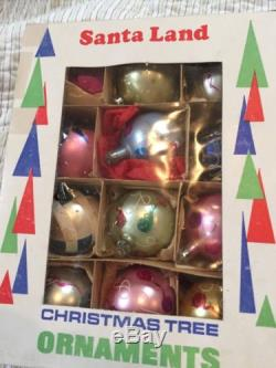 Vintage Mercury Glass Poland Hand Painted Christmas Ornaments Lot of 24 2 Boxes