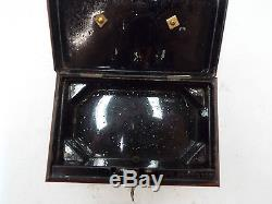 Vintage Metal TRINKET PILL BOX / SAFE With Key Hand Painted 261 R24