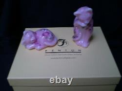 Vintage Pair Fenton Rosalene Cats hand painted & signed with original box pics